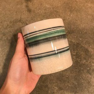 Anthropologie Ceramic Striped Minimal Planter Pot